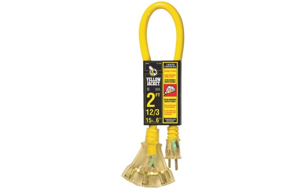 Yellow Jacket 2 Ft. 12/3 Contractor Grade Power Block Extension Cord